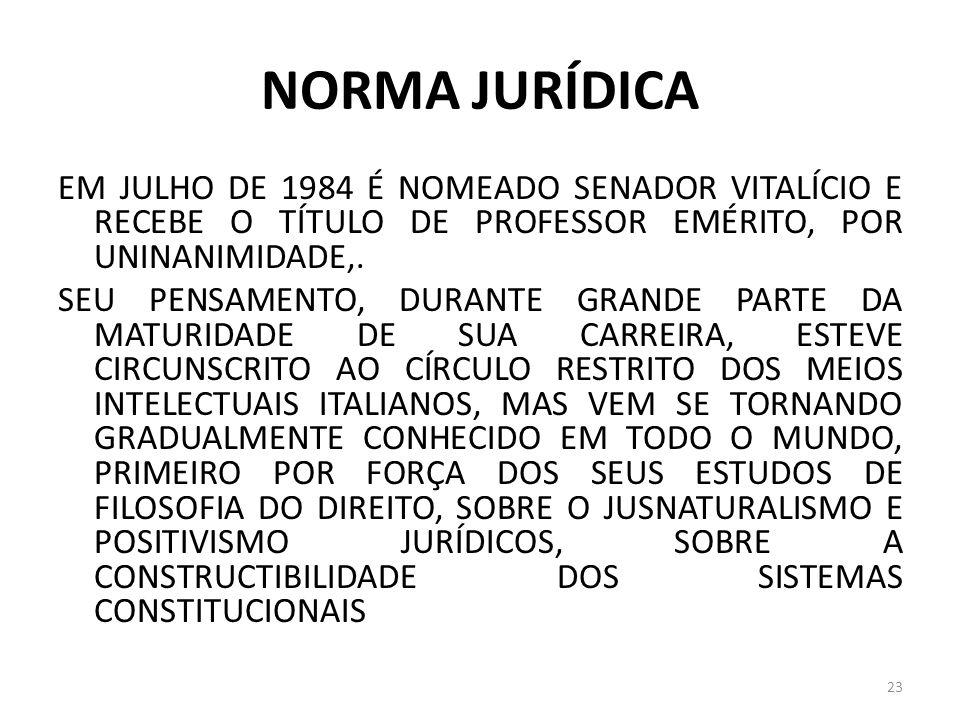 NORMA JURÍDICA EM JULHO DE 1984 É NOMEADO SENADOR VITALÍCIO E RECEBE O TÍTULO DE PROFESSOR EMÉRITO, POR UNINANIMIDADE,. SEU PENSAMENTO, DURANTE GRANDE