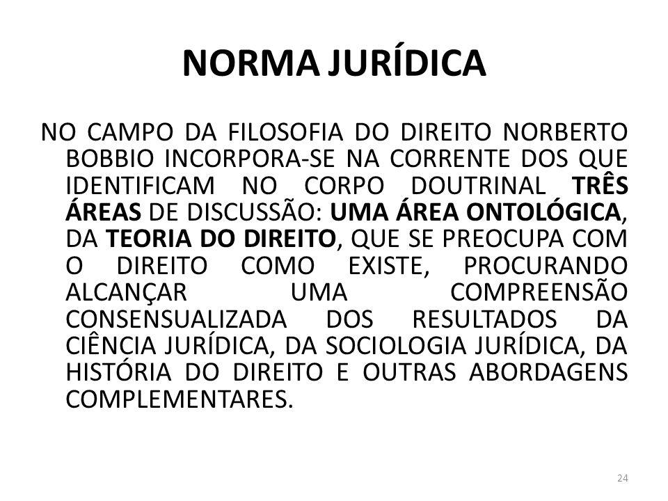 NORMA JURÍDICA NO CAMPO DA FILOSOFIA DO DIREITO NORBERTO BOBBIO INCORPORA-SE NA CORRENTE DOS QUE IDENTIFICAM NO CORPO DOUTRINAL TRÊS ÁREAS DE DISCUSSÃ