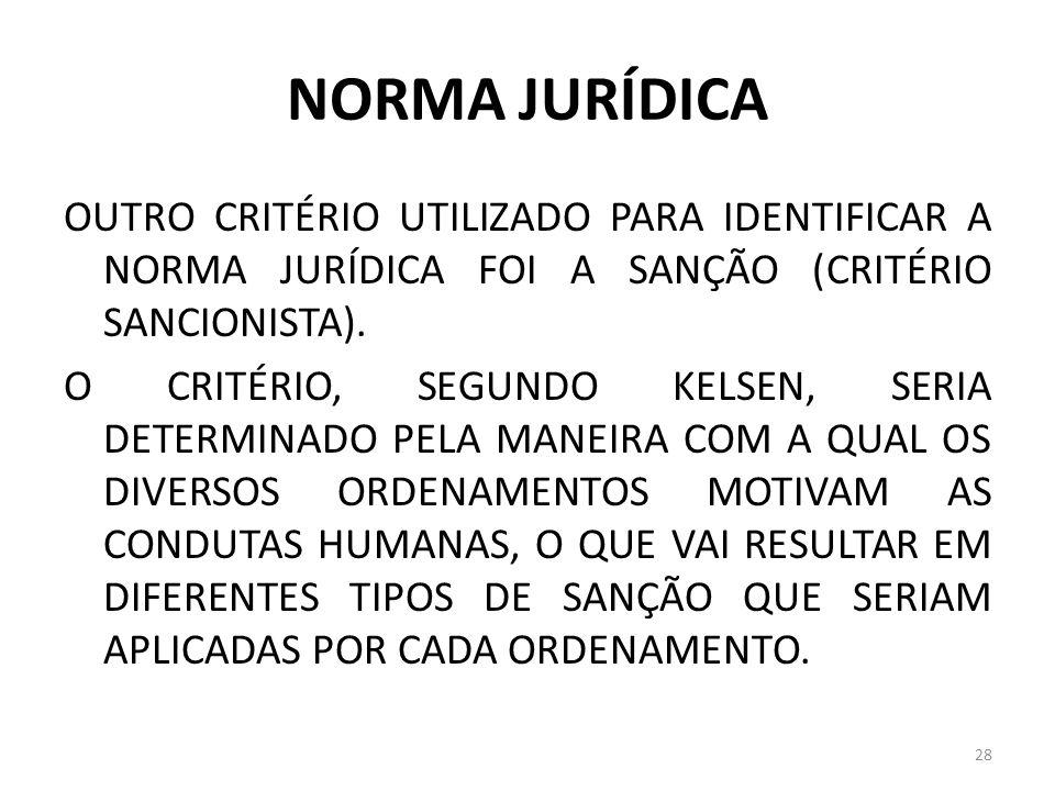 NORMA JURÍDICA OUTRO CRITÉRIO UTILIZADO PARA IDENTIFICAR A NORMA JURÍDICA FOI A SANÇÃO (CRITÉRIO SANCIONISTA). O CRITÉRIO, SEGUNDO KELSEN, SERIA DETER
