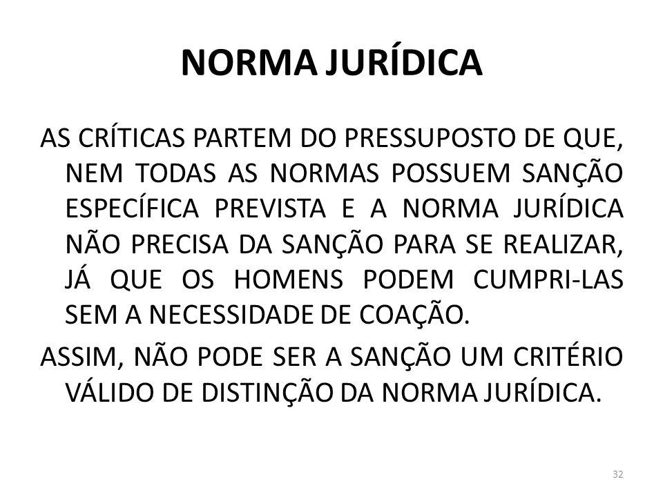 NORMA JURÍDICA AS CRÍTICAS PARTEM DO PRESSUPOSTO DE QUE, NEM TODAS AS NORMAS POSSUEM SANÇÃO ESPECÍFICA PREVISTA E A NORMA JURÍDICA NÃO PRECISA DA SANÇ