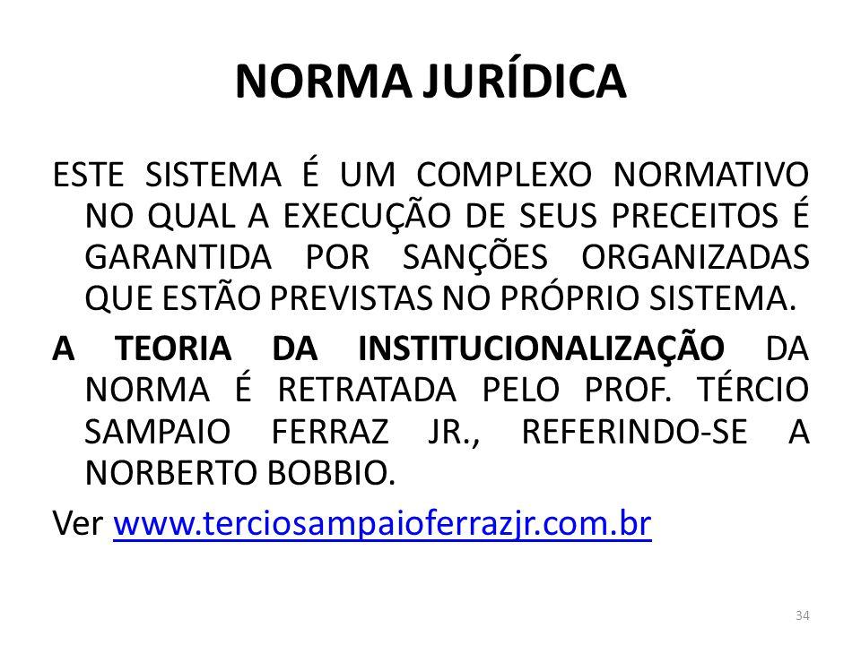 NORMA JURÍDICA ESTE SISTEMA É UM COMPLEXO NORMATIVO NO QUAL A EXECUÇÃO DE SEUS PRECEITOS É GARANTIDA POR SANÇÕES ORGANIZADAS QUE ESTÃO PREVISTAS NO PR