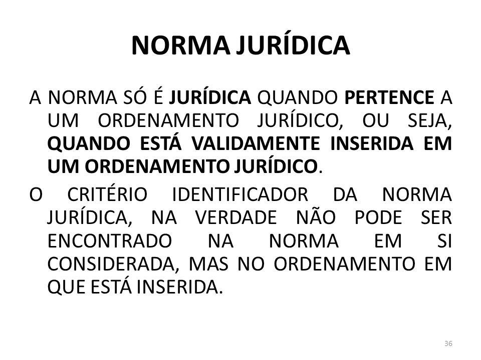 NORMA JURÍDICA A NORMA SÓ É JURÍDICA QUANDO PERTENCE A UM ORDENAMENTO JURÍDICO, OU SEJA, QUANDO ESTÁ VALIDAMENTE INSERIDA EM UM ORDENAMENTO JURÍDICO.