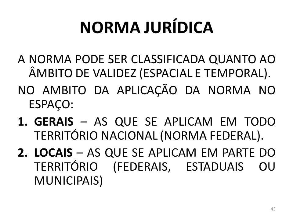 NORMA JURÍDICA A NORMA PODE SER CLASSIFICADA QUANTO AO ÂMBITO DE VALIDEZ (ESPACIAL E TEMPORAL). NO AMBITO DA APLICAÇÃO DA NORMA NO ESPAÇO: 1.GERAIS –