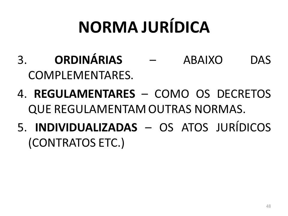 NORMA JURÍDICA 3. ORDINÁRIAS – ABAIXO DAS COMPLEMENTARES. 4. REGULAMENTARES – COMO OS DECRETOS QUE REGULAMENTAM OUTRAS NORMAS. 5. INDIVIDUALIZADAS – O