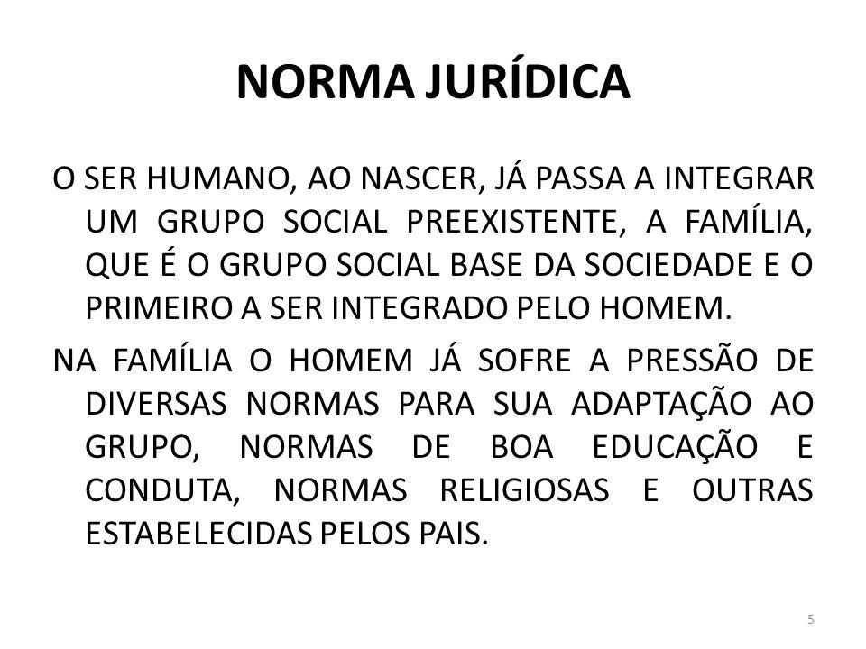 NORMA JURÍDICA O SER HUMANO, AO NASCER, JÁ PASSA A INTEGRAR UM GRUPO SOCIAL PREEXISTENTE, A FAMÍLIA, QUE É O GRUPO SOCIAL BASE DA SOCIEDADE E O PRIMEI