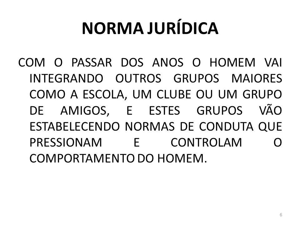 NORMA JURÍDICA O ELEMENTO CARACTERIZADOR JURÍDICO DA NORMA SÓ É ENCONTRADO NO ORDENAMENTO, POSTO QUE É ELE QUE CONFERE JURIDICIDADE À NORMA.