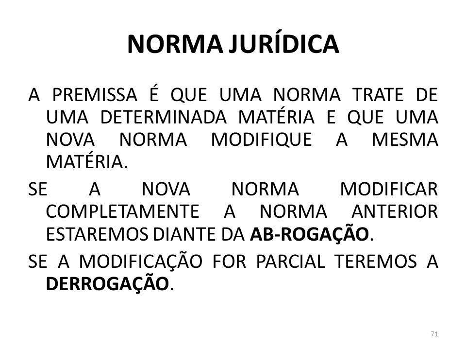 NORMA JURÍDICA A PREMISSA É QUE UMA NORMA TRATE DE UMA DETERMINADA MATÉRIA E QUE UMA NOVA NORMA MODIFIQUE A MESMA MATÉRIA. SE A NOVA NORMA MODIFICAR C