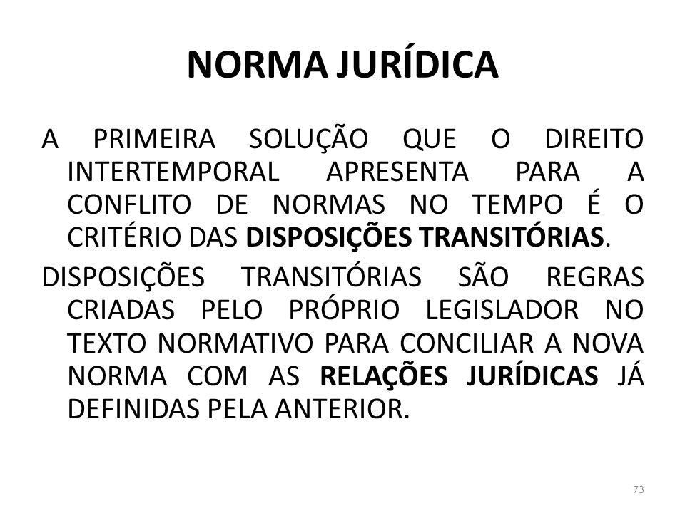 NORMA JURÍDICA A PRIMEIRA SOLUÇÃO QUE O DIREITO INTERTEMPORAL APRESENTA PARA A CONFLITO DE NORMAS NO TEMPO É O CRITÉRIO DAS DISPOSIÇÕES TRANSITÓRIAS.