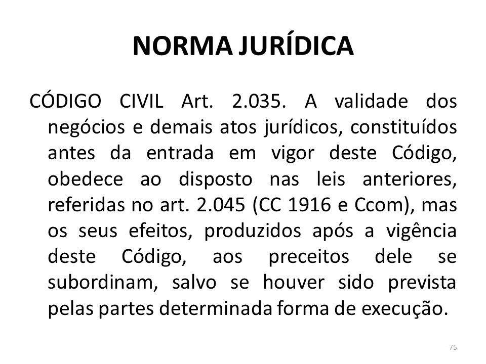 NORMA JURÍDICA CÓDIGO CIVIL Art. 2.035. A validade dos negócios e demais atos jurídicos, constituídos antes da entrada em vigor deste Código, obedece