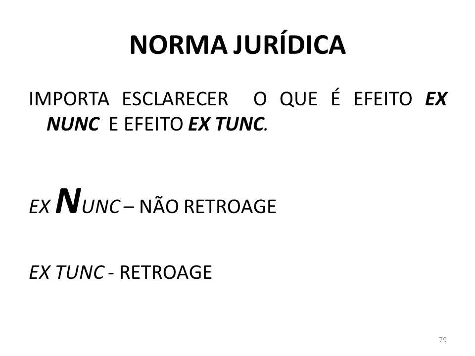 NORMA JURÍDICA IMPORTA ESCLARECER O QUE É EFEITO EX NUNC E EFEITO EX TUNC. EX N UNC – NÃO RETROAGE EX TUNC - RETROAGE 79