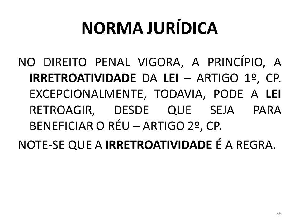 NORMA JURÍDICA NO DIREITO PENAL VIGORA, A PRINCÍPIO, A IRRETROATIVIDADE DA LEI – ARTIGO 1º, CP. EXCEPCIONALMENTE, TODAVIA, PODE A LEI RETROAGIR, DESDE