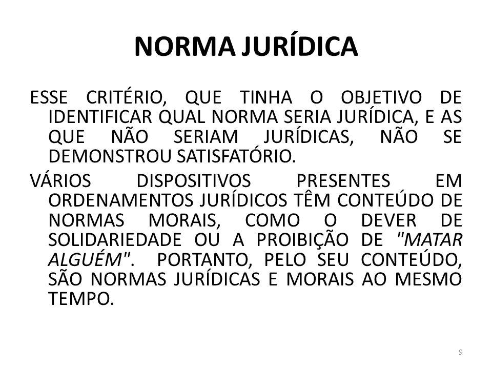 NORMA JURÍDICA ESSE CRITÉRIO, QUE TINHA O OBJETIVO DE IDENTIFICAR QUAL NORMA SERIA JURÍDICA, E AS QUE NÃO SERIAM JURÍDICAS, NÃO SE DEMONSTROU SATISFAT