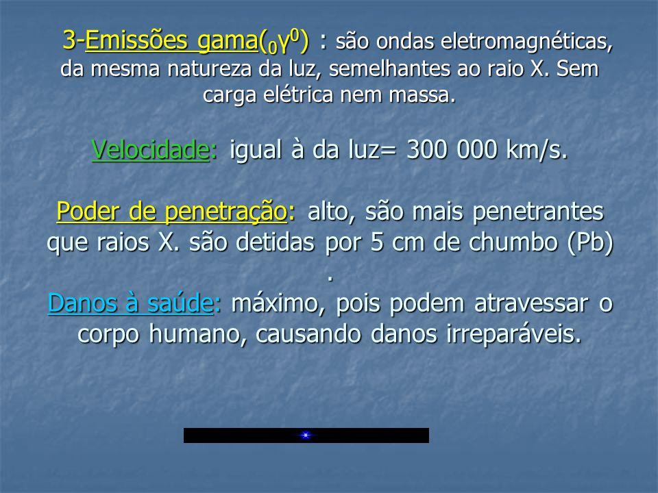 3-Emissões gama( 0 γ 0 ) : são ondas eletromagnéticas, da mesma natureza da luz, semelhantes ao raio X.