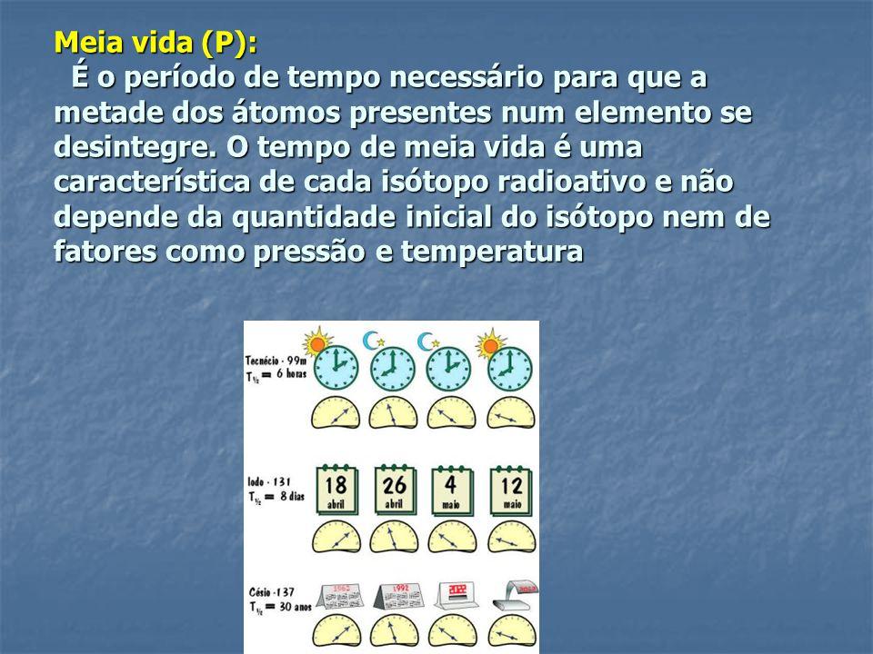 Meia vida (P): É o período de tempo necessário para que a metade dos átomos presentes num elemento se desintegre.