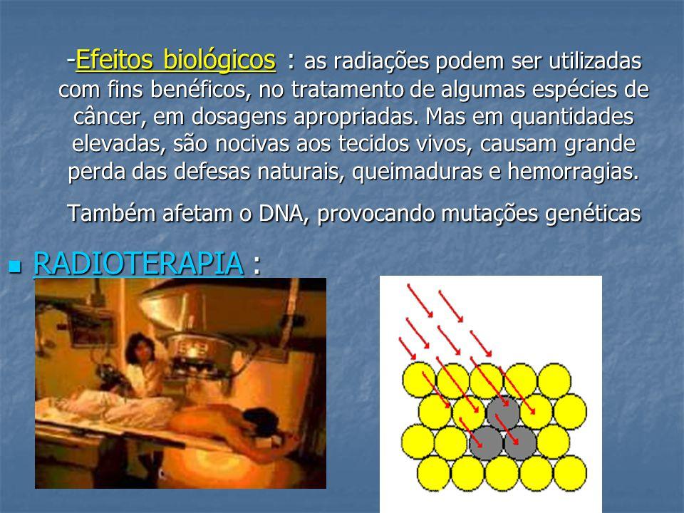 -Efeitos biológicos : as radiações podem ser utilizadas com fins benéficos, no tratamento de algumas espécies de câncer, em dosagens apropriadas.