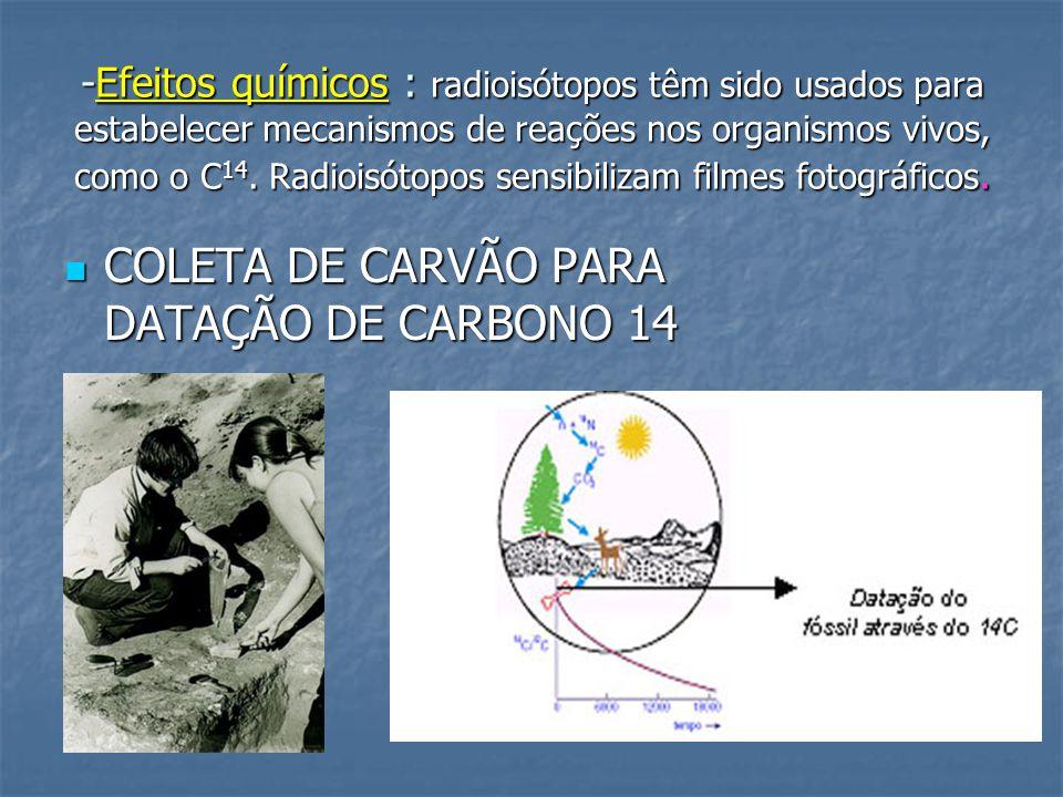 -Efeitos químicos : radioisótopos têm sido usados para estabelecer mecanismos de reações nos organismos vivos, como o C 14.