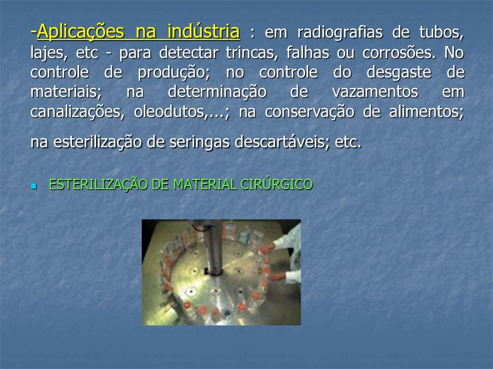 -Aplicações na indústria : em radiografias de tubos, lajes, etc - para detectar trincas, falhas ou corrosões.