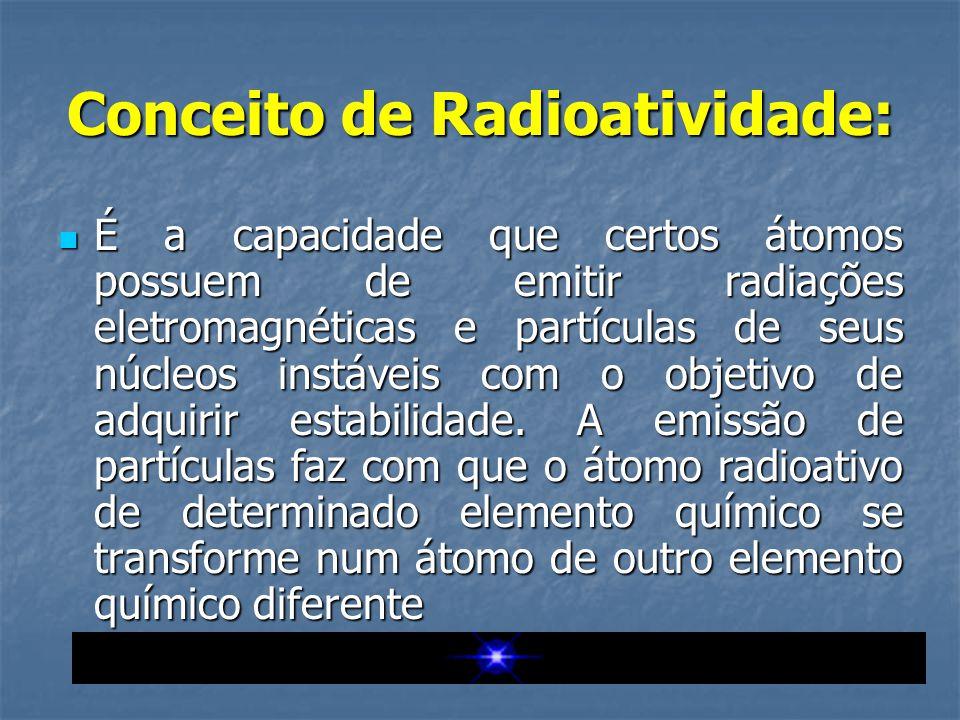 Conceito de Radioatividade:  É a capacidade que certos átomos possuem de emitir radiações eletromagnéticas e partículas de seus núcleos instáveis com