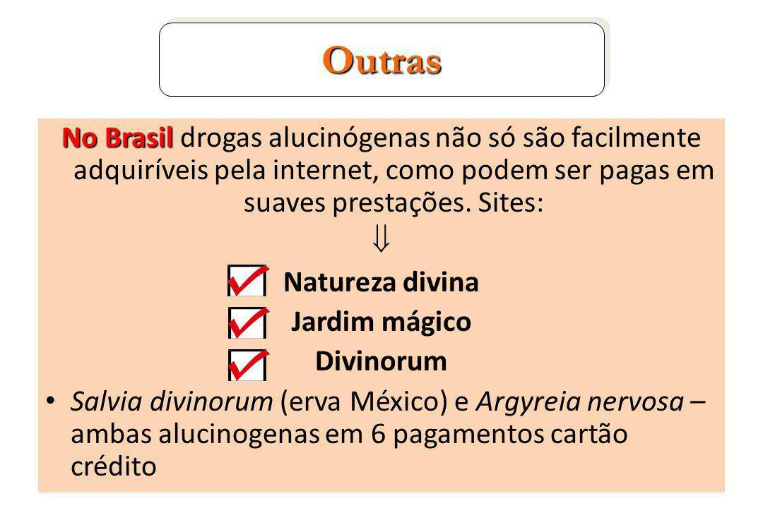 No Brasil No Brasil drogas alucinógenas não só são facilmente adquiríveis pela internet, como podem ser pagas em suaves prestações.