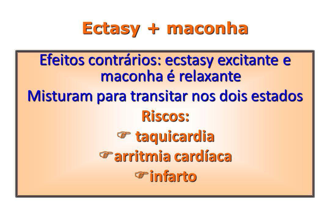 Ectasy + maconha Efeitos contrários: ecstasy excitante e maconha é relaxante Misturam para transitar nos dois estados Riscos:  taquicardia  arritmia cardíaca  infarto