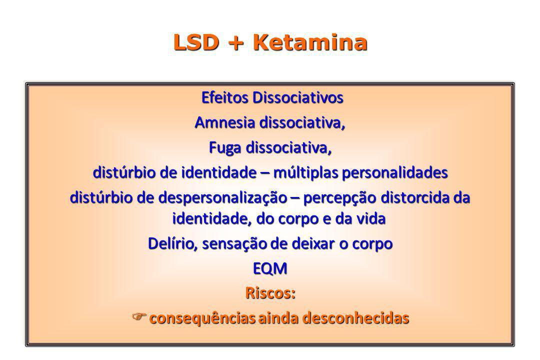 LSD + Ketamina Efeitos Dissociativos Efeitos Dissociativos Amnesia dissociativa, Fuga dissociativa, distúrbio de identidade – múltiplas personalidades distúrbio de despersonalização – percepção distorcida da identidade, do corpo e da vida Delírio, sensação de deixar o corpo EQMRiscos:  consequências ainda desconhecidas