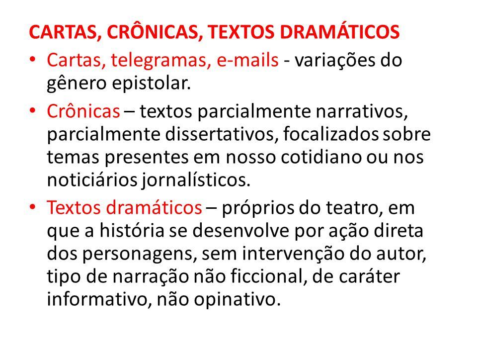 CARTAS, CRÔNICAS, TEXTOS DRAMÁTICOS • Cartas, telegramas, e-mails - variações do gênero epistolar.