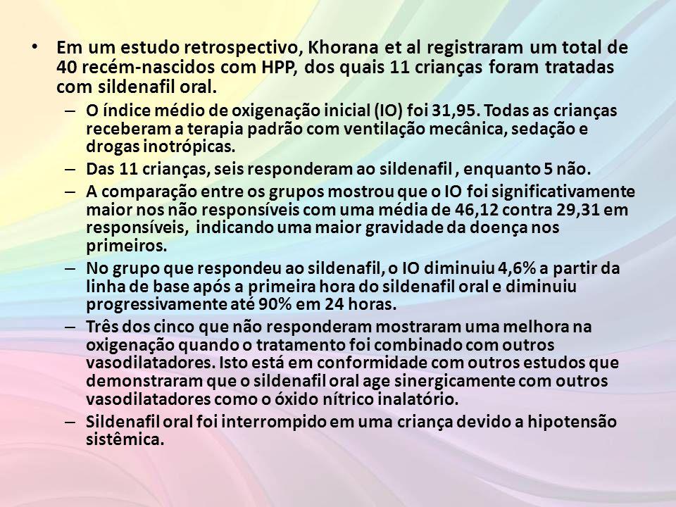 • Em um estudo retrospectivo, Khorana et al registraram um total de 40 recém-nascidos com HPP, dos quais 11 crianças foram tratadas com sildenafil ora