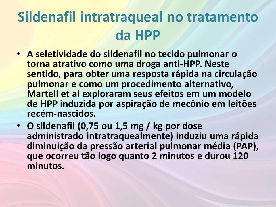 Sildenafil intratraqueal no tratamento da HPP • A seletividade do sildenafil no tecido pulmonar o torna atrativo como uma droga anti-HPP. Neste sentid