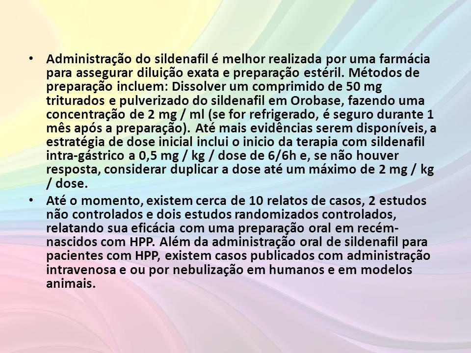 • Administração do sildenafil é melhor realizada por uma farmácia para assegurar diluição exata e preparação estéril. Métodos de preparação incluem: D