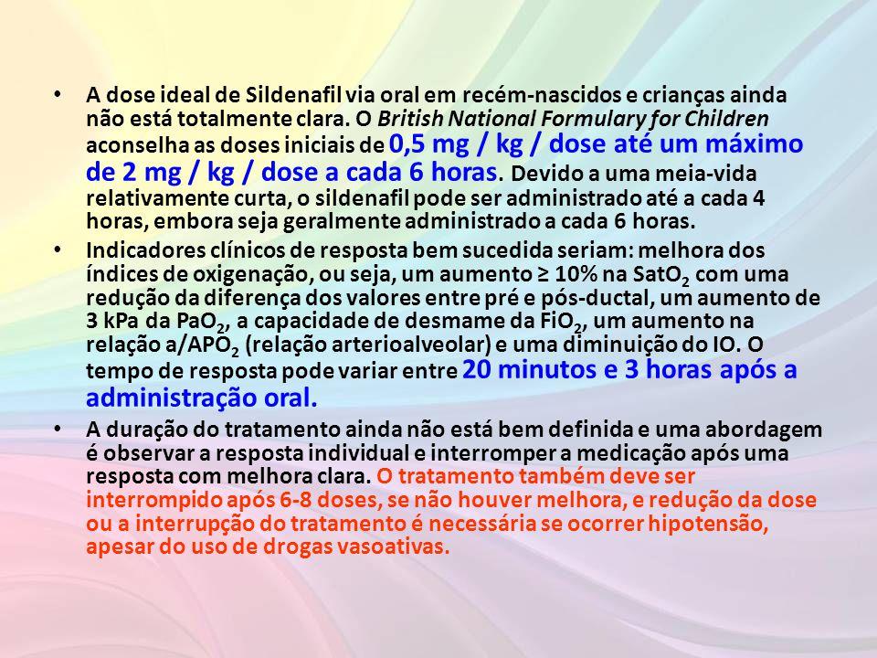 • A dose ideal de Sildenafil via oral em recém-nascidos e crianças ainda não está totalmente clara. O British National Formulary for Children aconselh