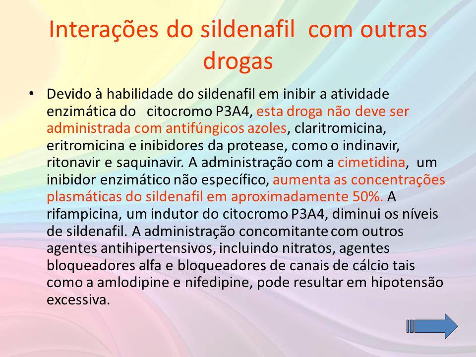 Interações do sildenafil com outras drogas • Devido à habilidade do sildenafil em inibir a atividade enzimática do citocromo P3A4, esta droga não deve