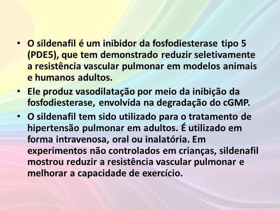 Complicações com o uso de sildenafil Efeitos adversos • Entre os efeitos colaterais do sildenafil, se destacam os efeitos oculares como o risco potencial de lesão da retina (retinite pigmentosa), sobretudo nos indivíduos com mutação nos genes que codificam a fosfodiesterase 6 (o sildenafil tem um potencial de afetar a fosfodiestase 6 da retina).