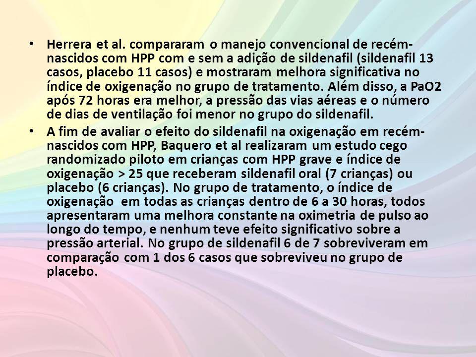 • Herrera et al. compararam o manejo convencional de recém- nascidos com HPP com e sem a adição de sildenafil (sildenafil 13 casos, placebo 11 casos)