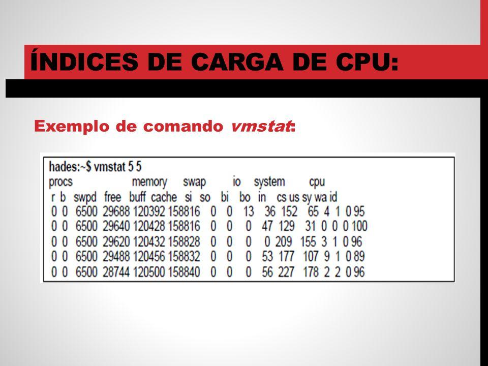 ÍNDICES DE CARGA DE CPU: Exemplo de comando vmstat: