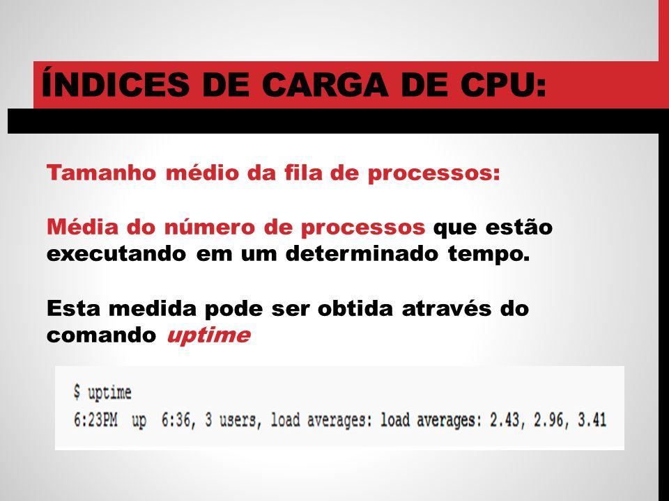 ÍNDICES DE CARGA DE CPU: Tamanho médio da fila de processos: Média do número de processos que estão executando em um determinado tempo. Esta medida po