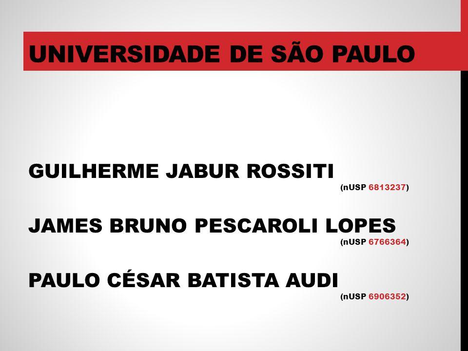 UNIVERSIDADE DE SÃO PAULO GUILHERME JABUR ROSSITI (nUSP 6813237) JAMES BRUNO PESCAROLI LOPES (nUSP 6766364) PAULO CÉSAR BATISTA AUDI (nUSP 6906352)