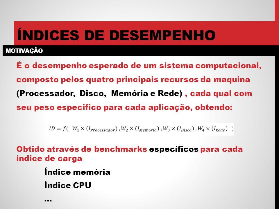MOTIVAÇÃO ÍNDICES DE DESEMPENHO É o desempenho esperado de um sistema computacional, composto pelos quatro principais recursos da maquina (Processador, Disco, Memória e Rede), cada qual com seu peso especifico para cada aplicação, obtendo: Obtido através de benchmarks específicos para cada indice de carga Índice memória Índice CPU …