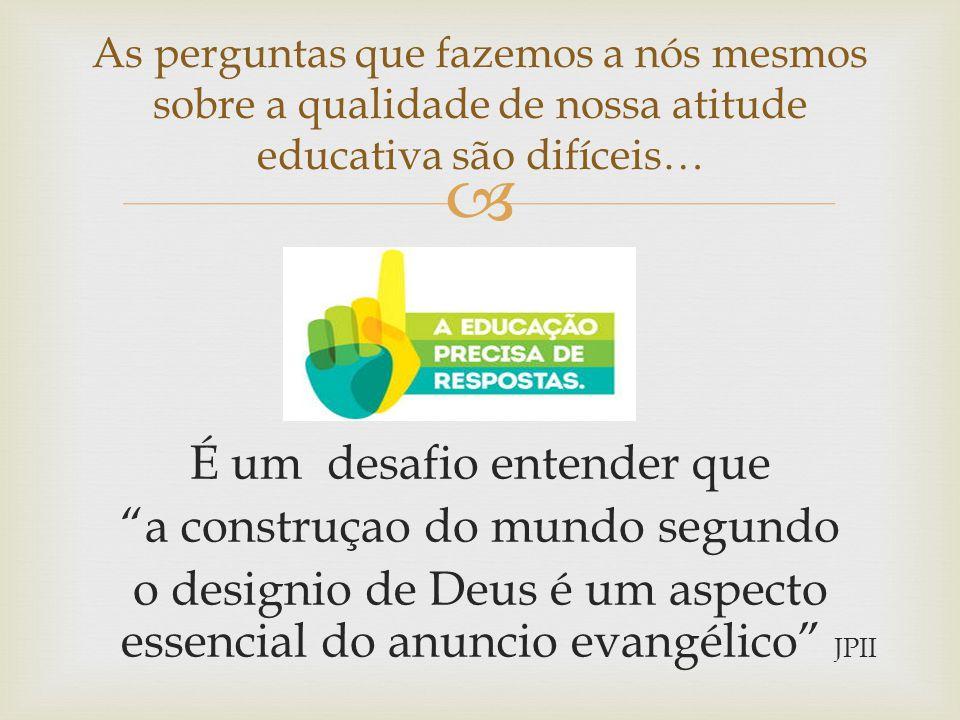 """ É um desafio entender que """"a construçao do mundo segundo o designio de Deus é um aspecto essencial do anuncio evangélico"""" JPII As perguntas que faze"""