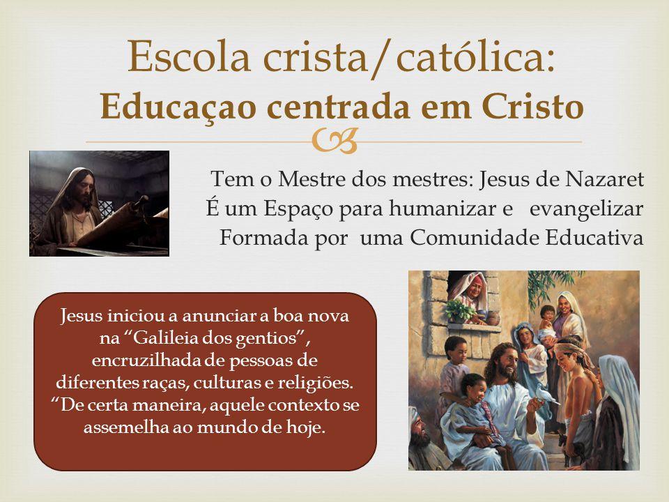  Tem o Mestre dos mestres: Jesus de Nazaret É um Espaço para humanizar e evangelizar Formada por uma Comunidade Educativa Escola crista/católica: Edu