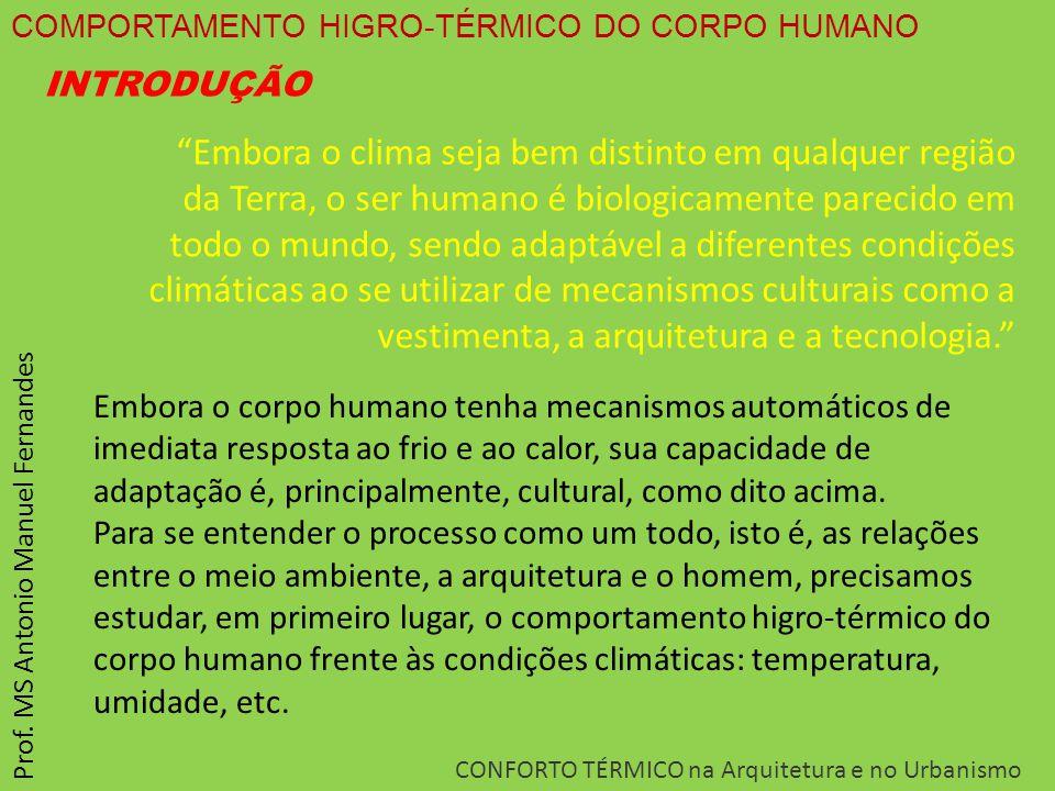 """COMPORTAMENTO HIGRO-TÉRMICO DO CORPO HUMANO CONFORTO TÉRMICO na Arquitetura e no Urbanismo Prof. MS Antonio Manuel Fernandes """"Embora o clima seja bem"""