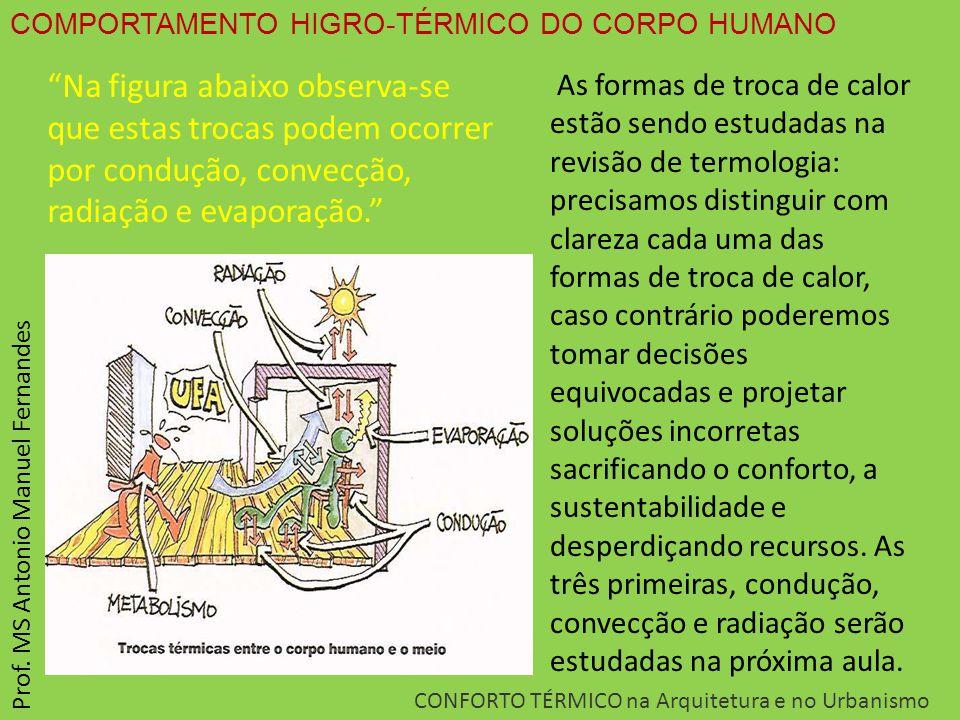 "COMPORTAMENTO HIGRO-TÉRMICO DO CORPO HUMANO CONFORTO TÉRMICO na Arquitetura e no Urbanismo Prof. MS Antonio Manuel Fernandes ""Na figura abaixo observa"