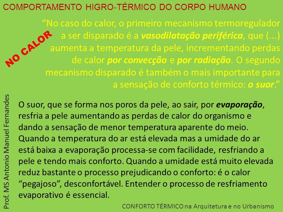 """COMPORTAMENTO HIGRO-TÉRMICO DO CORPO HUMANO CONFORTO TÉRMICO na Arquitetura e no Urbanismo Prof. MS Antonio Manuel Fernandes """"No caso do calor, o prim"""