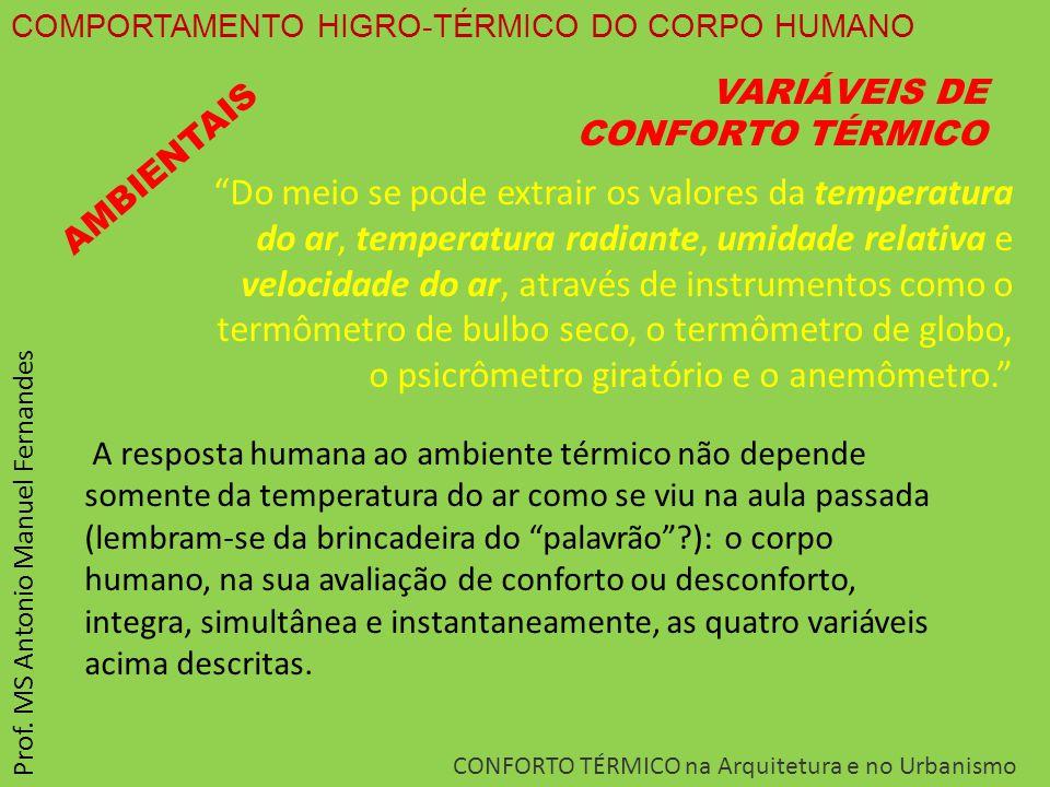 COMPORTAMENTO HIGRO-TÉRMICO DO CORPO HUMANO CONFORTO TÉRMICO na Arquitetura e no Urbanismo Prof. MS Antonio Manuel Fernandes VARIÁVEIS DE CONFORTO TÉR