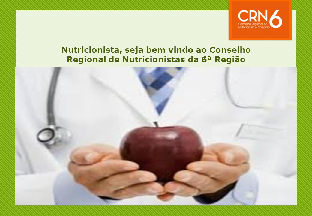 A seguir, você assistirá a uma apresentação sobre a Legislação do profissional de Nutrição
