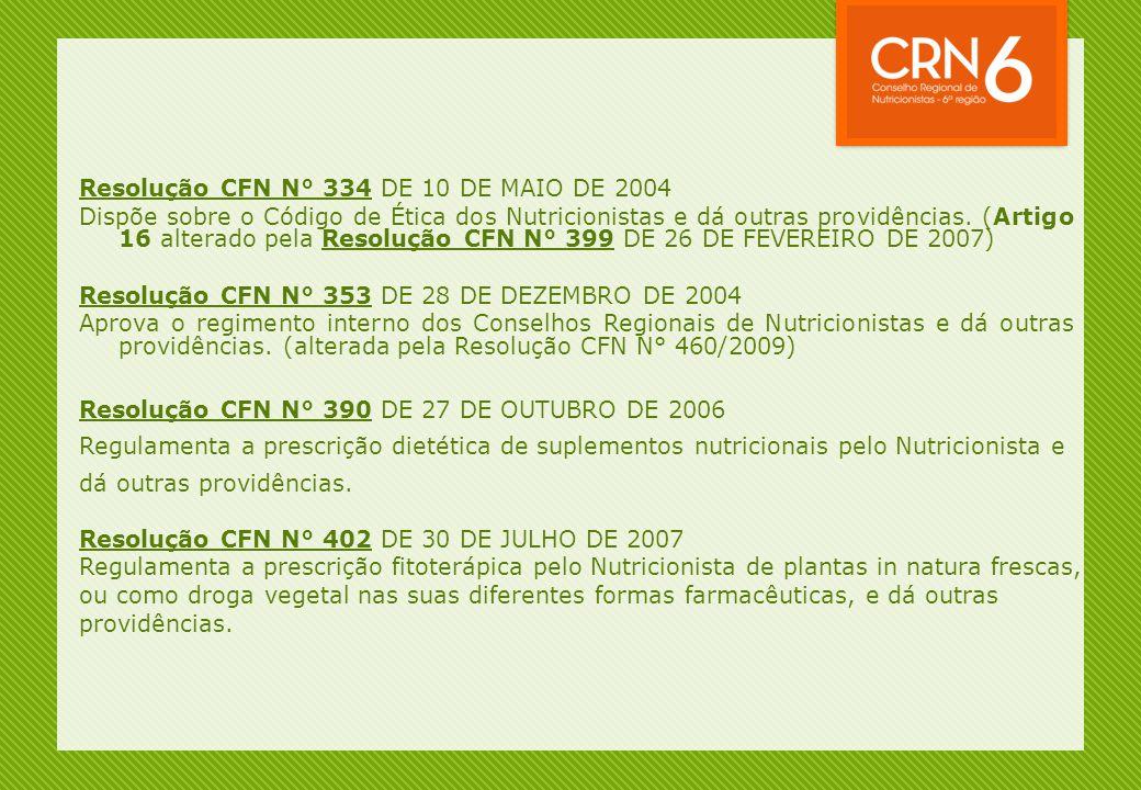 Resolução CFN N° 334 DE 10 DE MAIO DE 2004 Dispõe sobre o Código de Ética dos Nutricionistas e dá outras providências. (Artigo 16 alterado pela Resolu