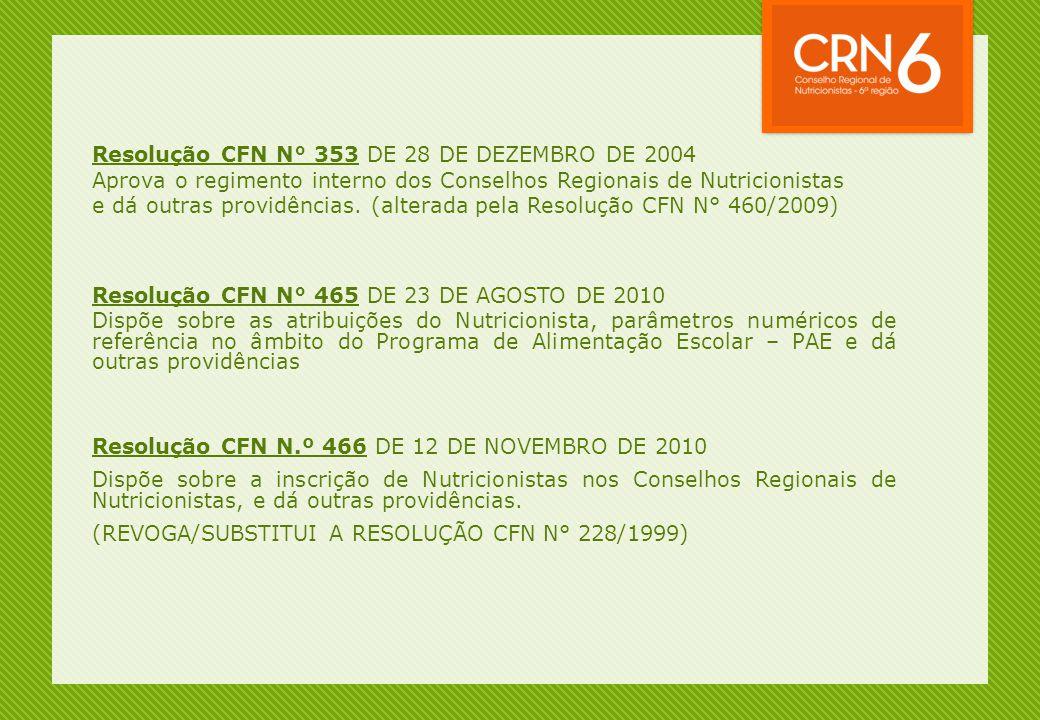 Resolução CFN N° 353 DE 28 DE DEZEMBRO DE 2004 Aprova o regimento interno dos Conselhos Regionais de Nutricionistas e dá outras providências. (alterad