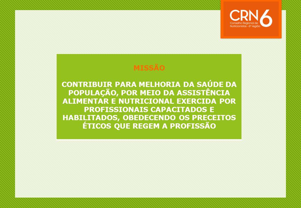 MISSÃO CONTRIBUIR PARA MELHORIA DA SAÚDE DA POPULAÇÃO, POR MEIO DA ASSISTÊNCIA ALIMENTAR E NUTRICIONAL EXERCIDA POR PROFISSIONAIS CAPACITADOS E HABILI