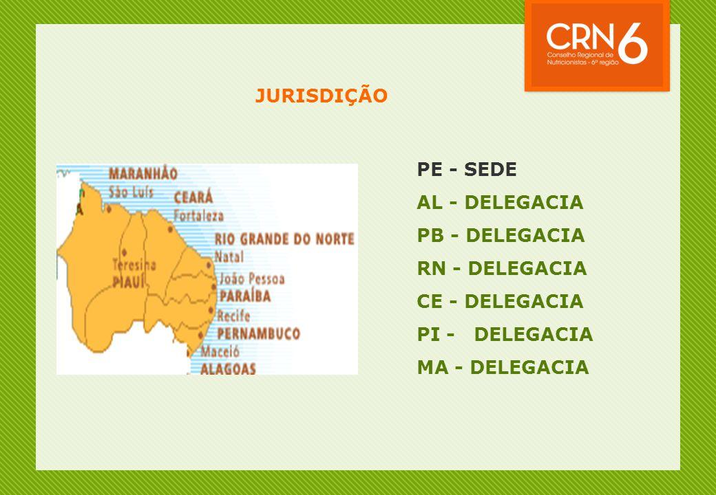 JURISDIÇÃO PE - SEDE AL - DELEGACIA PB - DELEGACIA RN - DELEGACIA CE - DELEGACIA PI - DELEGACIA MA - DELEGACIA