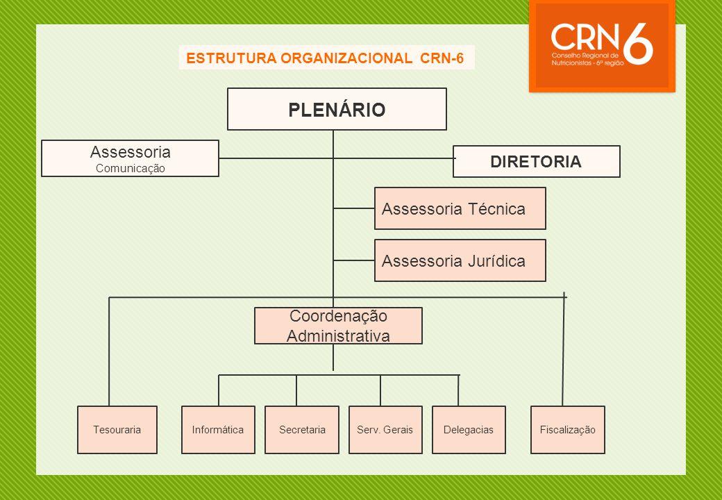 ESTRUTURA ORGANIZACIONAL CRN-6 PLENÁRIO DIRETORIA Assessoria Comunicação Assessoria Técnica Coordenação Administrativa Assessoria Jurídica TesourariaI