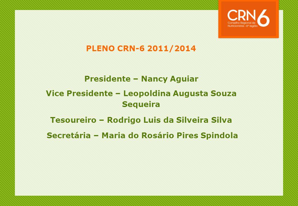 PLENO CRN-6 2011/2014 Presidente – Nancy Aguiar Vice Presidente – Leopoldina Augusta Souza Sequeira Tesoureiro – Rodrigo Luis da Silveira Silva Secret
